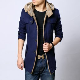 Wholesale Mens Hooded Pea Coats - New fashion parkas winter wool coat men manteau homme trench coat mens pea coat casaco masculino down jacket