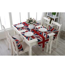 2019 decoraciones del partido azul real negro Moderno minimalista británico Union Jack mantel individual tapete de aislamiento tapete mesa paño decoración del hogar / boda / regalos de navidad