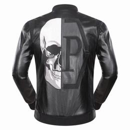 Wholesale Men Leather Jackets Slim Fit - SS17 Fashion Celebr Desinger Faux Leather Punk jacket brand P9047 Coats PU Leather Slim fit Sporty Style Skulls Men Casual Jacket M-3XL