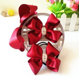 Wholesale Headbands Hairband Hair Clips - 1set=3pcs Children Accessories Hairband Hairpins Gum for Hair Baby Girls Lovely Bow Headwear Hair clip Headband