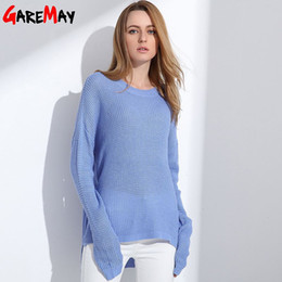 Wholesale Oversized Wool Sweater - Sweater Shirt Women Jumper 2017 Spring Oversized Sweater Long Sleeve Women Knitwear Blue Loose Sweater Female Pullover GAREMAY