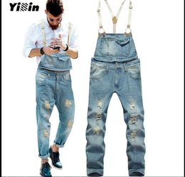 Wholesale Jeans Jumpsuits For Plus Size - Wholesale-2016 Spring Autumn Fashion mens skinny jean overalls Casual bib jeans for men Male Ripped denim jumpsuit Suspenders Bibs