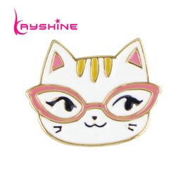 Wholesale Cake Jewelry Wholesale - Wholesale- Kayshine High Quality Jewelry Animal Lovely Cat Brooch Gold-Color with Colorful Enamel Cake Brooches for Fashion Lady