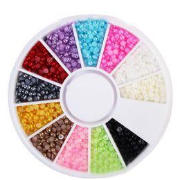 Wholesale Art Pearl Nail Decoration - New Nail Art Decorations 3d Flat Back Semi Pearls 12 Color Wheel 2mm Decors Nails Accessoires Manicure Pedicure Tools Diy 2017