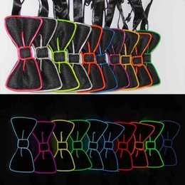 Wholesale Decoration Bow Tie - Bowknot LED Bow Tie Glowing EL Wire Light Up 10 Colors Bow Tie For DJ Bar Club Evening Party Decoration OOA2095