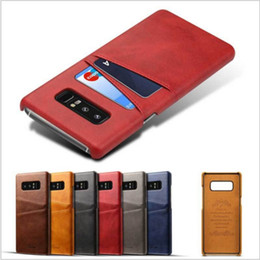 Wholesale Galaxy Note Credit Card - Slim Credit Card Slots Holder Pocket Leather Case For Galaxy Note 8 Shockproof Back Cover For Samsung Galaxy Note 8 S8 Plus