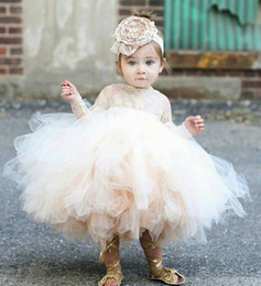 Wholesale Baby Clothes Model - Baby Infant Toddler Pageant Clothes Pricness Flower Girl Dress Long Sleeve Lace TuTu Dress Ivory Champagne Flower Girl Dress Bridal Party