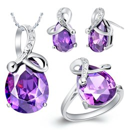 Wholesale Import China Party - Foreign trade set 18K platinum jewelry Austria import crystal pendant ring ear Ding