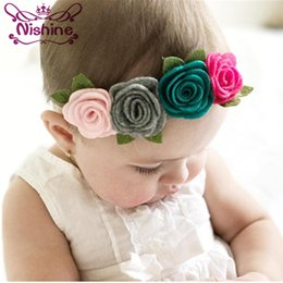 Wholesale Rose Crown Headband - Nishine New Girls Headbands Felt Flower Crown Headband Rose Leaves Headband Elastic Flower Headband for Kids Photography Props