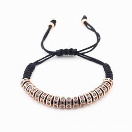 Wholesale Gold Stopper Bracelet - Zircon Stoppers Bangle Men Bracelets Gold 7 mm Micro Pave CZ Beads Braiding Macrame Men Bracelets Valentine's Gift