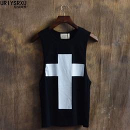 Wholesale Men Fashion Luxury Vest - Wholesale- 2016 Creative Fashion Printed Cross Cotton Men Vest Luxury Brand Men Tank Top Hip Hop Men Crewneck Vest
