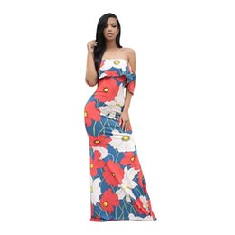 Wholesale Dreeses Sexy - 2017 New Arrival Fashion Summer Casual Womens Off Shoulder Slash Neck Flounce Kimono Sleeve Maxi Dress Party Evening Dreeses Plus Size