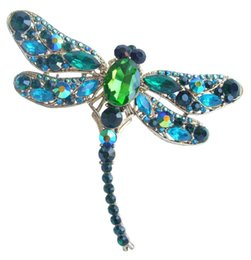 "Wholesale Turquoise Pins - Wholesale- HelenaJewelry 3.74"" Gold-tone Turquoise Green Rhinestone Crystal Dragonfly Brooch Pin Pendant EE05684C7"