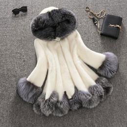 Wholesale Mink Fur Coat Hood - High Imitation Fur Coat Women Silver Fox Fur Collar Hooded Mink Fur Coat Medium-long Overcoat Plus Size S-4XL Winter Coat