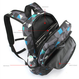 Wholesale Fashionable Backpacks - Wholesale- Men Backpack for teenagers polyester geometric bookbags brand schoolbag laptop backpack men's fashionable bagpack