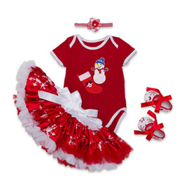 Wholesale Short Blue Skirt Cartoon - Baby Girls Christmas Rompers Sets 2017 Newbown Cartoon Jumpsuits+Tulle Tutu Skirt+Headbands+Shoes 4pcs Suits 0-2Y Infant Children Clothing