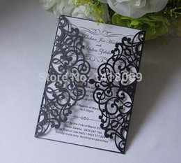 Wholesale Damask Party Supplies - Wholesale-Wedding Supplies Laser Cut Damask Wedding Business Party Birthday Invitations with Inside pages 50Pcs Lot,free custom printing