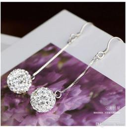 Wholesale Pearl Tassels - Female temperament princess ball Shambhala earrings earrings explosion models tassels long section of diamond-studded crystal ball earrings