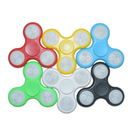 Wholesale Cheap Led Finger Toy - Cheap Triangle LED Hand Spinner With Switch LED Fidget Spinner Finger Fingertip Gyro Tri-Spinner Handspinner Fidget Toy Decompression