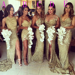Wholesale Long Sequin Bridesmaid Dresses - Sexy Plus Size Sparkly Gold Sequin Long Bridesmaid Dresses Side Split Mermaid Wedding Guest Dress Custom Made Special Occasion Dress