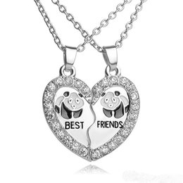 Wholesale Panda Pendant White Gold - Best Friends necklaces for 2 pcs set broken Heart Silver Pendant Necklaces Bff Enamel panda friendship gift with good quality factory china