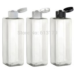 Wholesale Empty Plastic Bottles Shampoo - Free Shipping-250ML Flip Cap Bottle,Clear Square Plastic Shampoo Sub-bottling,Sample Empty Cosmetic Lotion Container,10pcs lot