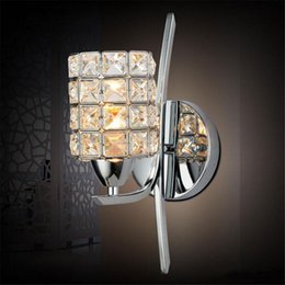 Wholesale Wall Light Crystal Fixtures - Bedroom Crystal Wall light Free Shipping Modern Polished Chrome Base Living Study Dining Room Wall Lamp Pub Club Glaring Fixtures