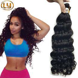 Wholesale Bulk Curly Hair Extensions - Ly Brazilian Human Hair Human Braiding Hair Bulk 3 Pieces Lot Free 1 Pieces Deep Curly No Attachment Hair Extensions Bundles