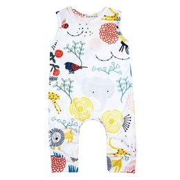 Wholesale Toddler Animal Vests - Interesting Baby Plant Animal Vest Jumpsuits Summer Infant Clothing Euro American Toddlers Baby Cartoon Print Sleeveless Jumpsuits