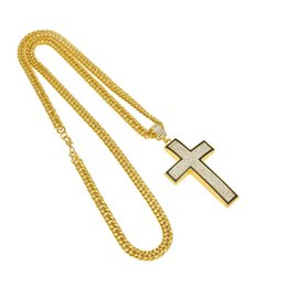 Wholesale Gold Curved Cross - Tide Brand Jewelry Nightclub Hip Hop Gold Plated Bling Rhinestone Curved Simple Black Border Crosses Jesus Men Women Pendant Necklace