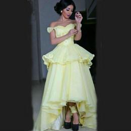 Robes De Gala Largos 2018 Une épaule Une ligne perlée robe de soirée jaune Robe courte devant avant longue Robe de soirée ? partir de fabricateur