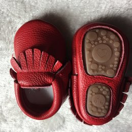 Wholesale Sole Shoes Girls - New rubber sole Genuine Leather Girls Boys handmade Toddler hard sole first walkers baby leather moccasins Shoes 20 colors