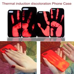 Wholesale Case For Iphone Funny - Thermal Discoloration Leather Case for iPhone 6 6S 7 Plus Funny Temperature Sensitive Discoloration Shell Heat Causes Discoloration Coque