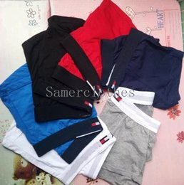 Wholesale Sexy Males Shorts - 100% Famous Brand Soft Cotton Mens Boxer Briefs Sexy Underwear Homme Soft Breathable Comfortable Fashion Elastic Male Cuecas Boxer Shorts