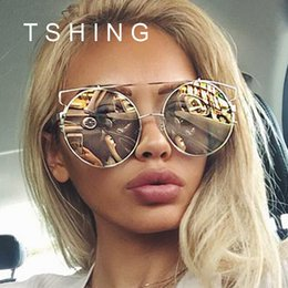 Wholesale Wholesale Big Mirrors - Wholesale-2016 New Fashion Cat Eye Oversized Big Round Sunglasses Women Superstar Brand Designer Lady Rose Gold Mirror Sun Glasses Female