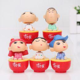Wholesale Crayon Shin Doll - Crayon Shin-Chan 1 16 Scale Painted Figure Toru Kazama Doll Tumbler PVC Action Figure Collectible Toy 5cm 5pcs set