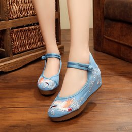 Wholesale Hanfu Women - The old Beijing folk style Dichotomanthes bottom embroidered shoes increased Hanfu fashion dance designer shoes