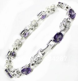 Wholesale Amethyst Fine Jewelry - Wholesale- fast shipping Fine Jewelry CZ Crystal + Amethyst Bracelet -Top quality free shipping
