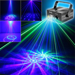 Wholesale 3w Green Laser - Mini 2 Len 12 GB Green Blue Pattern Projector Stage Equipment Light 3W Blue LED Mixing Effect DJ KTV Show Holiday Laser Stage Lighting Z12GB