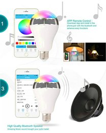 Wholesale E27 Led Remote Base - 2017 New Smart LED Bulb Bluetooth Speaker LED RGB Light E27 Base Wireless Music Player with APP Remote Control.