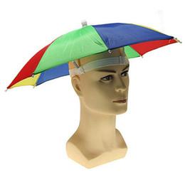 Wholesale Sunny Hats - Rainbow Umbrella Hat Portable Outdoor Shade Rain Hat Useful Awning Camping Fishing Hiking Umbrella for Adult Kid WA1501