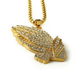Wholesale Men Big Chain - 18k Gold Plated Praying Hands Big pendants bling Jewelry Gifts Full hand Crystal necklaces Men Women Hip Hop Prayer Jesus Chains
