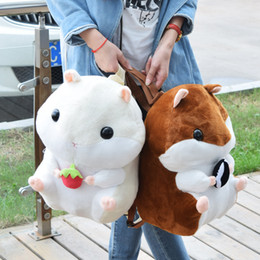Wholesale Toy Squirrels For Kids - Cute 45cm Brown & M White Hamster Plush Backpack Soft Doll Squirrel Animal Stuffed Toy Bag For Girls Baby Kids Birthday Gifts