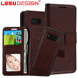 Wholesale Detachable Iphone - Removable Wallet Case for galaxy s8 2 in 1 maganetic leather case for s8 plus Detachable 3 Card Slots Pockets cover for iphone 8 6 7