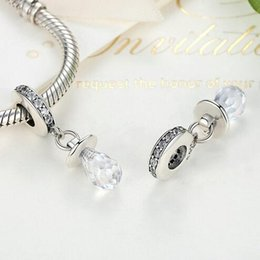 Wholesale Nipple Fittings - Pacifier, Clear CZ White Nipple Pendant 100% 925 Sterling Silver Charm Beads Fits Pandora European Charms Bracelet