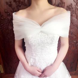 Wholesale Evening Shawls Tulle - Off Shoulder Tulle Wedding bolero Women Wedding Jackets V Neck Lace Up Back Evening Dresses Boleros Women Wedding Capes