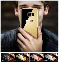 Wholesale Mobile Phone Metal Shell - Electroplated mirror metal frame mobile phone shell For SamsungA7 A8 A510 A710 Note2 Samsung case 4 Color Samsung Mobile phone protective