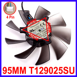 Wholesale Everflow Computer Fans - Wholesale- 95MM Computer Cooling Fan EVERFLOW T129025SU DC 12V 0.38AMP 4Pin Replacement For ASUS GTX 570 580 680 Graphics Video Card Fans