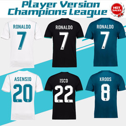 Wholesale 2018 Champions League Player Version Soccer Jersey Real Madrid Home Away rd Soccer Jerseys Ronaldo ASENSIO Football Jeresys