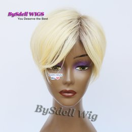 Wholesale Kanekalon Hair Blonde Straight - New Arrival African American Blonde Hairstyle Wig, Top Quality Kanekalon Hair Short Straight Blonde Color Wigs with Dark Roots
